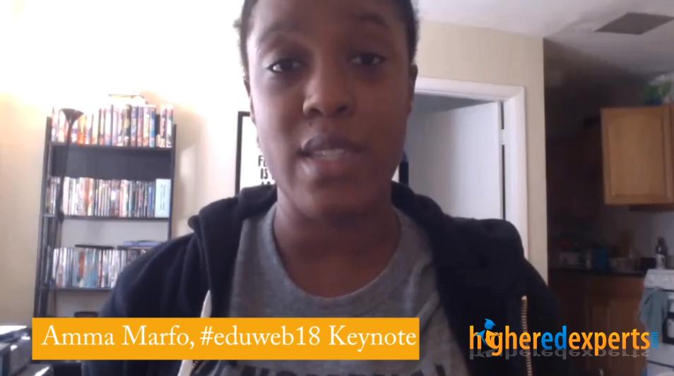 4-question interview on creativity in #highered with Amma Marfo, #eduWeb18 Keynote Speaker [3-min VIDEO]