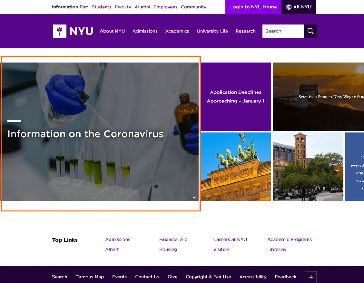 Coronavirus info on Nyu website