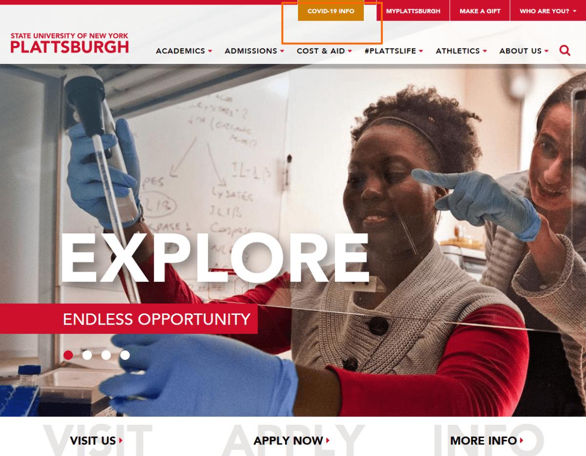 Coronavirus info on Suny Plattsburgh website