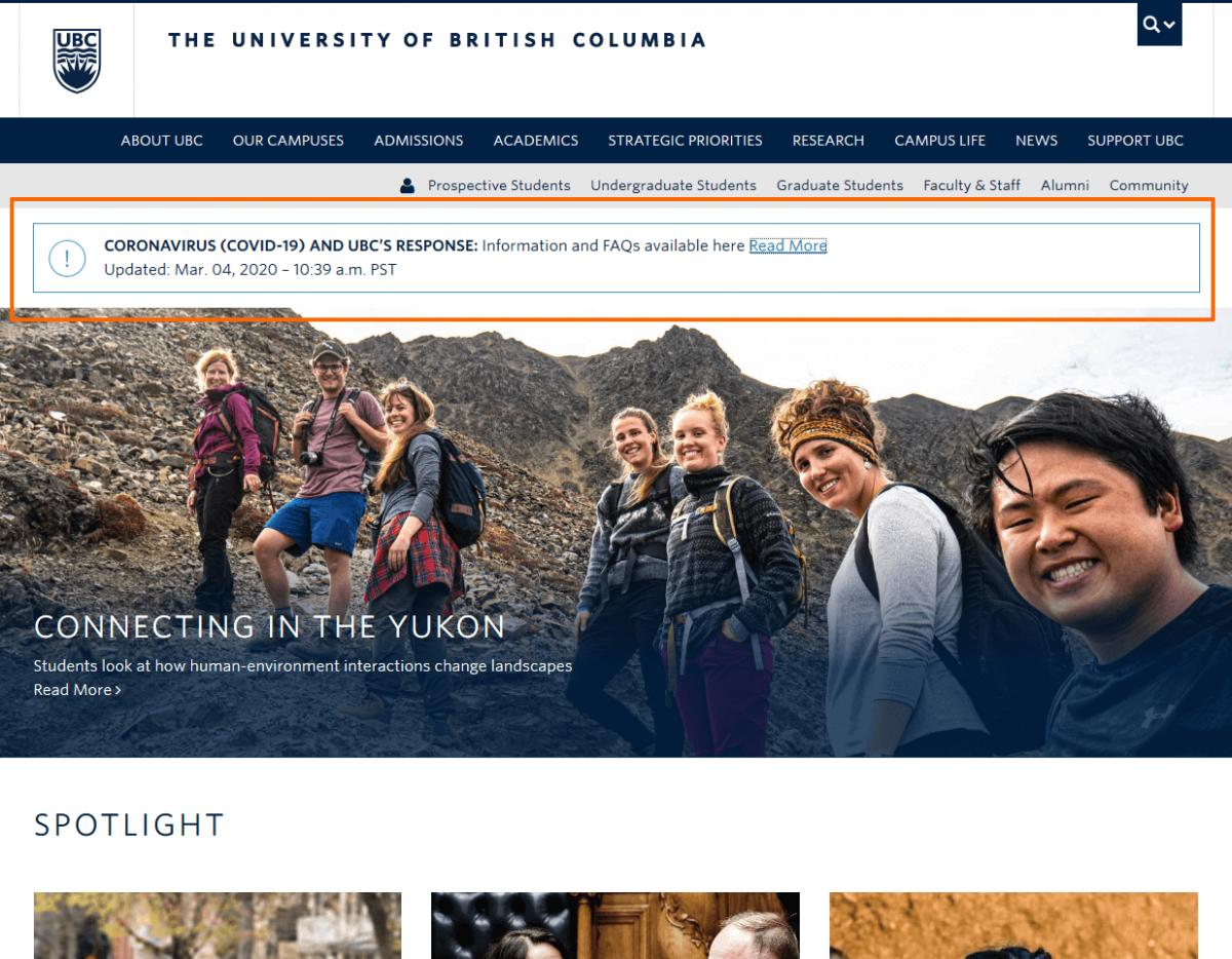 Coronavirus info on UBC website