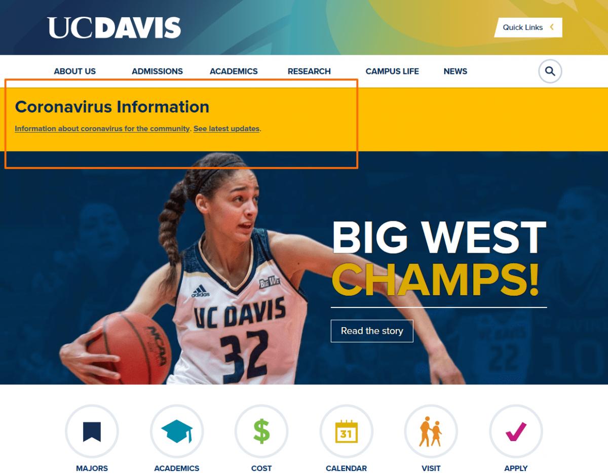 Coronavirus info on Ucdavis website