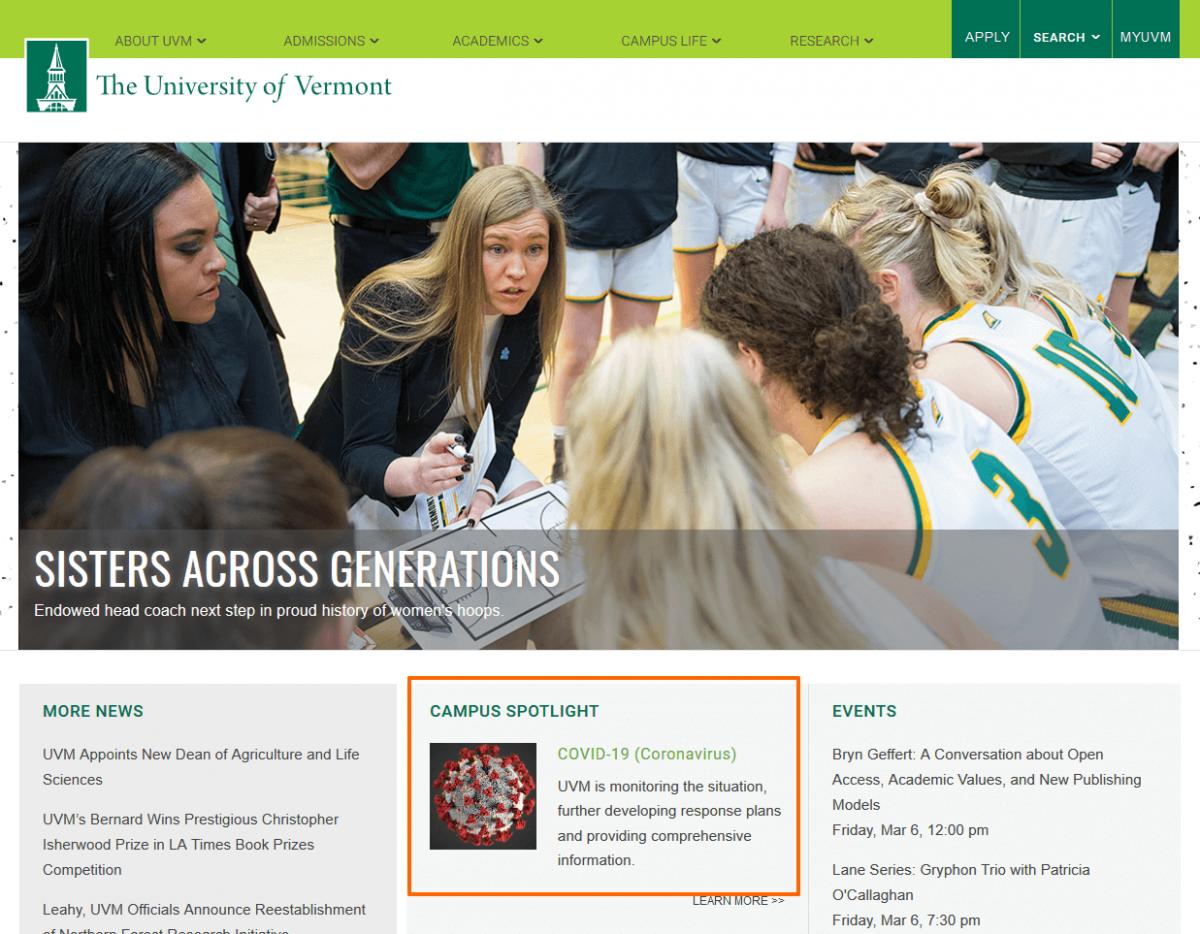 Coronavirus info on the University of Vermont website