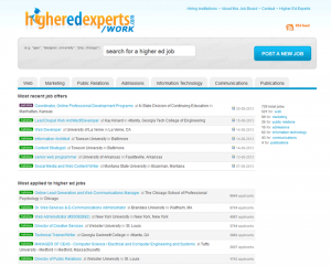 Old version of the Higher Ed Experts Job Board
